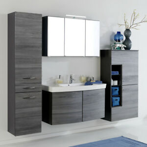komplett badezimmer set eiche grau 100cm waschtisch led spiegelschrank badm bel ebay. Black Bedroom Furniture Sets. Home Design Ideas
