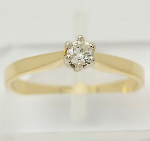 Solitaer-Brillant-Ring-in-aus-585-14kt-Gelb-Weiss-Gold-mit-Brilliant-Brillantring