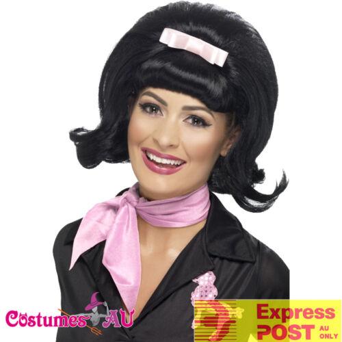 Ladies 50s Flicked Beehive Bob Hairspray Grease Black Flip Costume Party Wigs