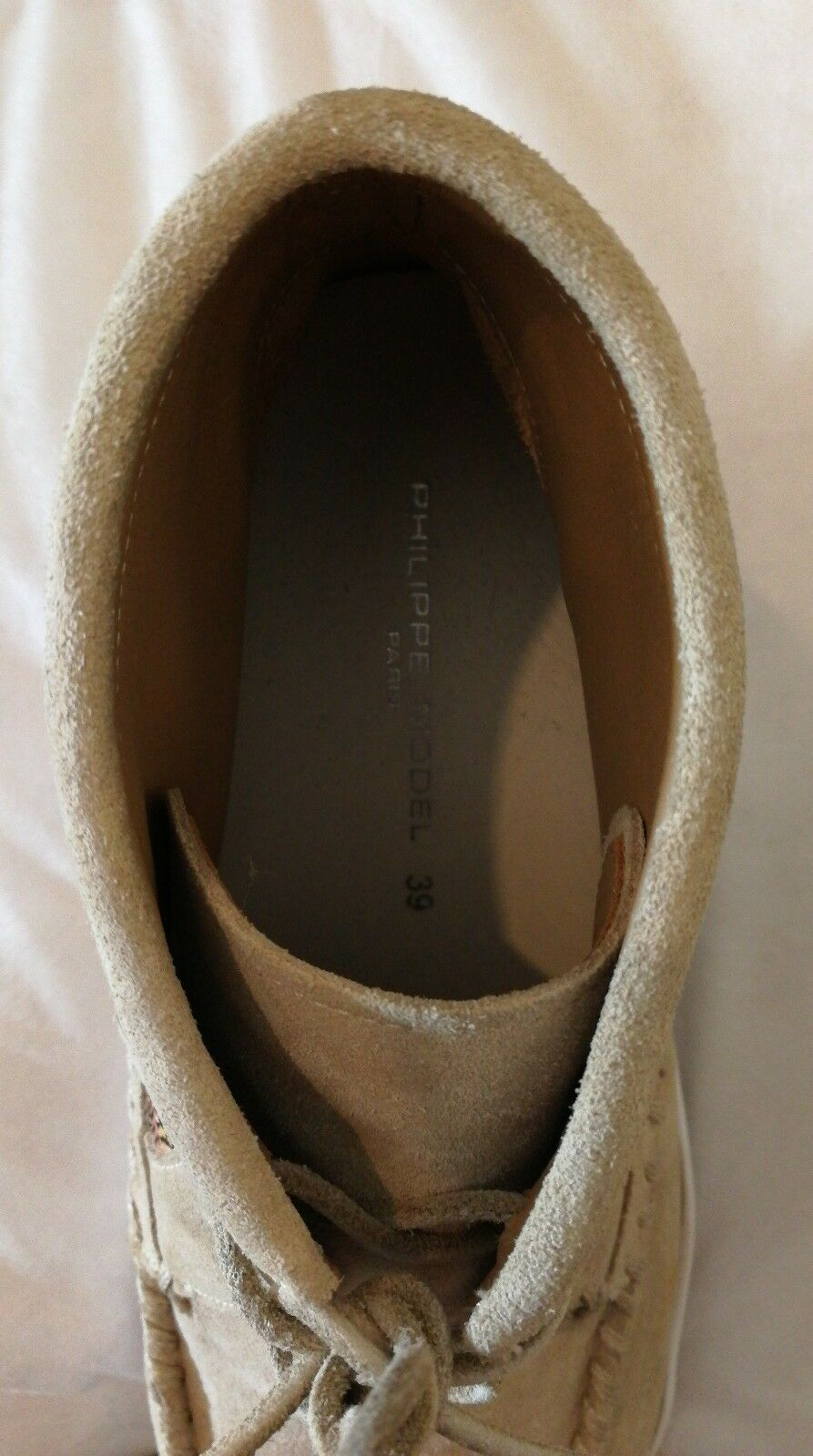 Philippe Model Fringed Lace-up Suede Leather Sneakers Trainers Beige Beige Beige uk 6 eu 39 ad9e11