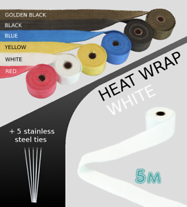 UNIVERSAL-CAR-BIKE-EXHAUST-HEAT-WRAP-with-ties-5-METRE-WHITE-5M-WHI-SKD