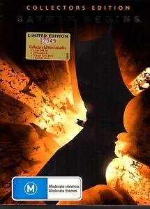 BATMAN-BEGINS-DVD-R4-LIMITED-EDITION-7049-2-DISC-SET-COMIC-CD-4-CARDS-VG-Cond