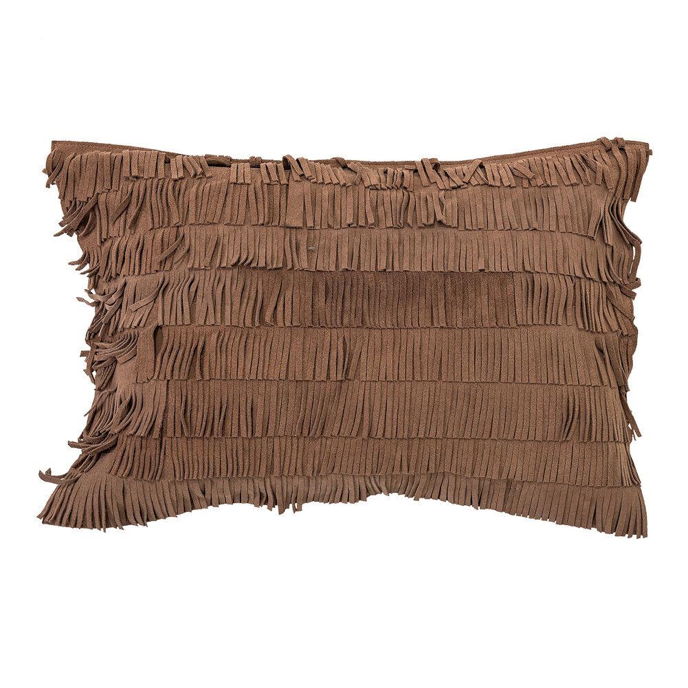 Bloomingville marron oreiller avec franges daim marron Bloomingville 60 x 40cm 486e1c