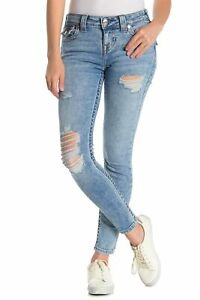 True-Religion-Women-039-s-Halle-Super-Skinny-Fit-Stretch-Destroyed-Jeans-w-Rips
