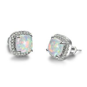 b86cc17180cfb Details about Princess Cut White Fire Opal Square Stud Earrings 925 Silver  Women Wedding Gifts