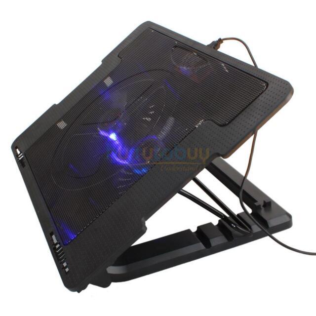 """USB LED Light 2 Fan 9""""-17"""" Laptop Notebook Cooling Pad Adjustable Stand Cooler"""