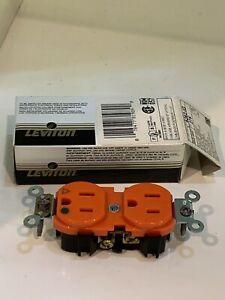 Leviton 5262-IG Orange ISO GROUND Hospital Grade Duplex Receptacle Outlet 15A