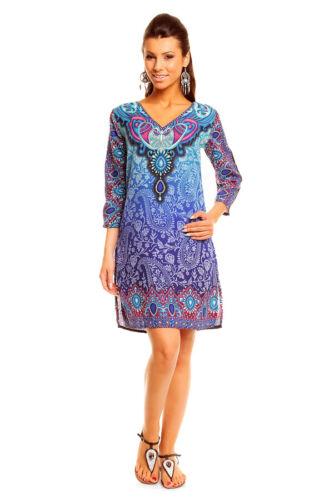 LADIES BLUE//MULTI OR ORANGE//MULTI ETHNIC PRINT HOLIDAY BEACH KAFTAN 10-18 NEW