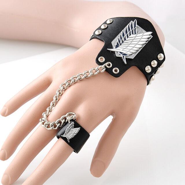 Hot Anime Manga Attack On Titan Rivet PU Leather Bracelet+Ring Black Wristband