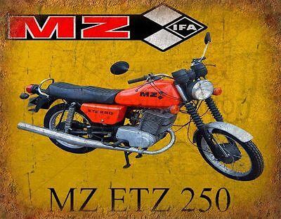 Mz ts 125-150 ddr moto rétro garage métal tin signe plaque murale