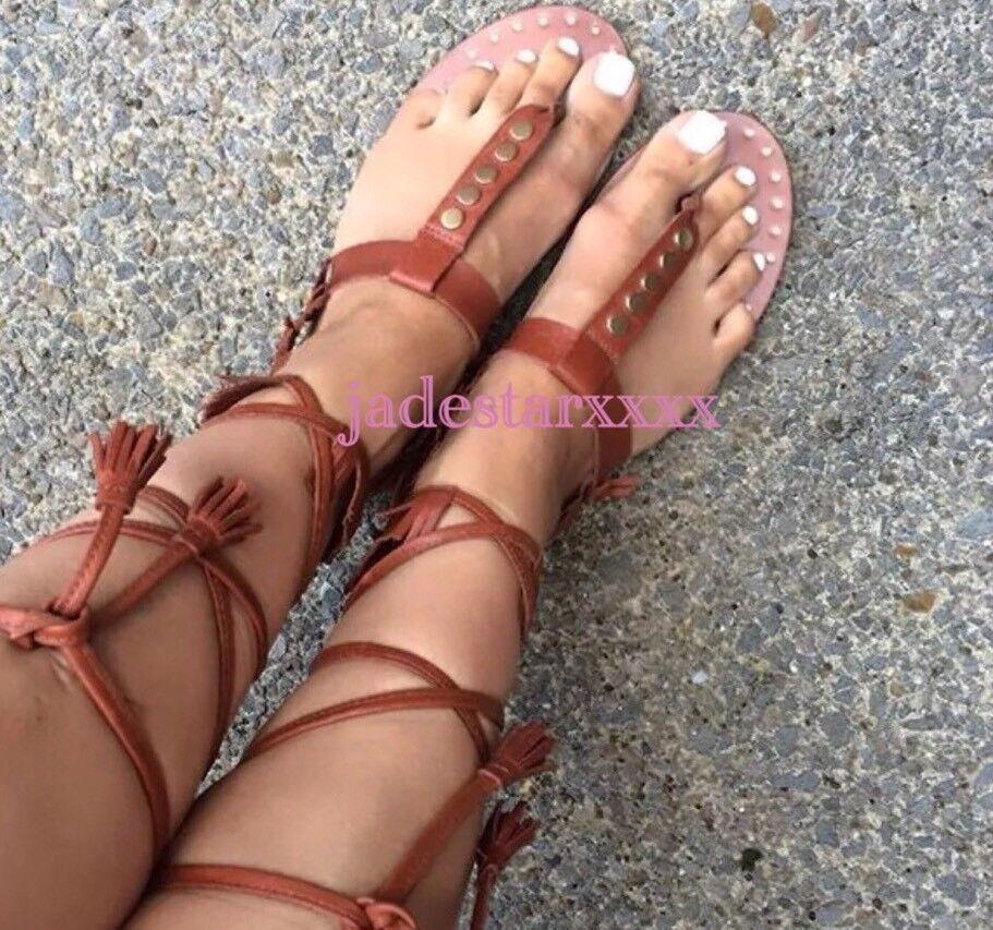 Zara Fringed Flat Tan Leder Roman Lace Up Sandales Schuhes NEU 4 37 BNWT
