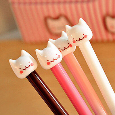 4Pcs Cute Funny Stationery Pen Cute Cat Head Ball Point Pen Random Color