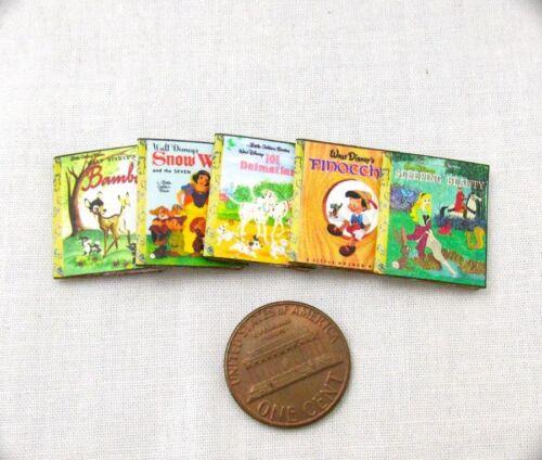 5 DISNEY GOLDEN BOOKS Set MINIATURE BOOKS 1:12 SCALE Dollhouse Prop Faux Books
