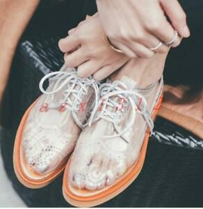 Womens-Transparent-Clear-Lace-Up-Oxfords-Brogue-Spring-Shoes-Stylish-Block-Heel
