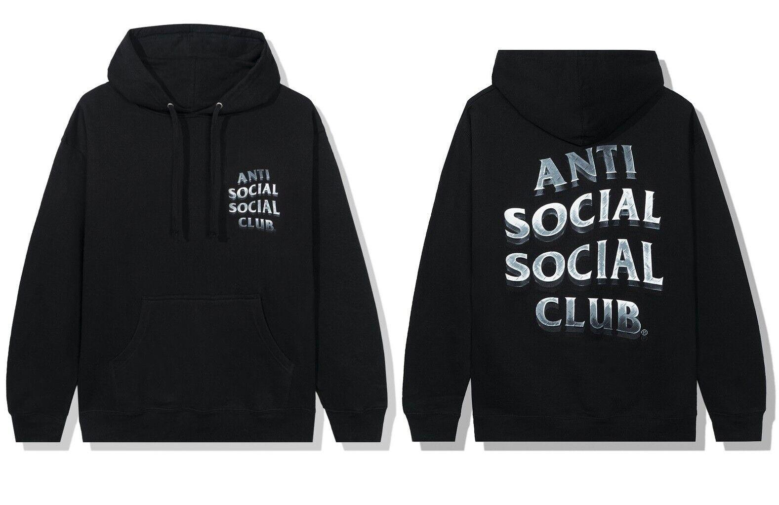 DS Anti Social Social Club ASSC metal Steel Logo 747K Black Hoodie in hand CPFM