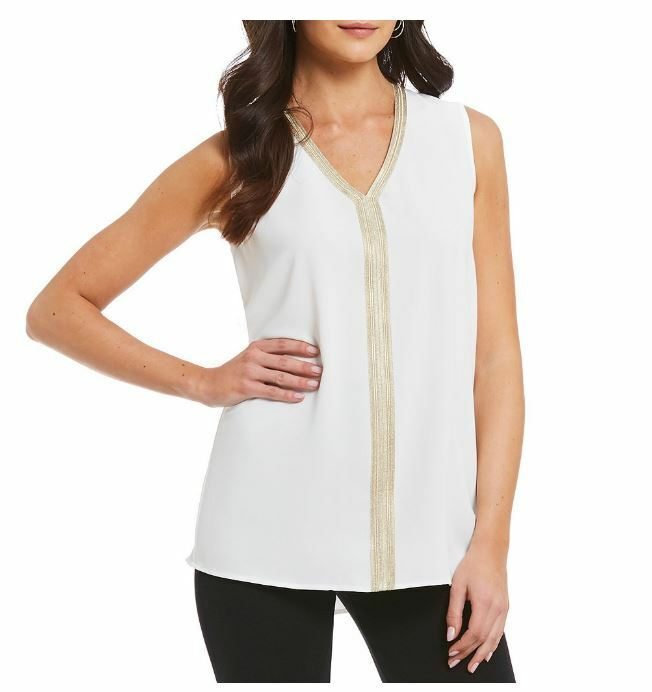 Misook Weiß Gold Metallic Trim V-Neck Sleeveless Blouse Top S