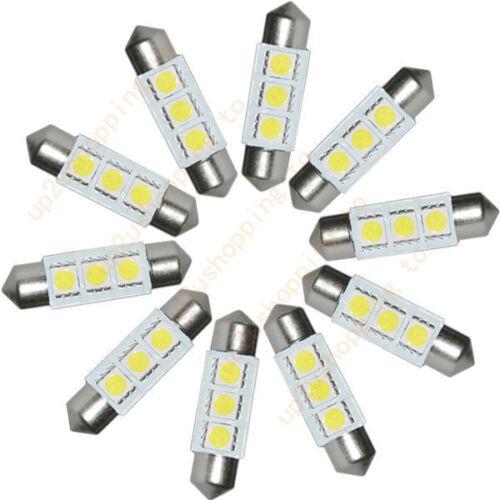 20PCS White 36MM 3 LED 5050 SMD Festoon Dome Car Light Interior Lamp Bulb 12V