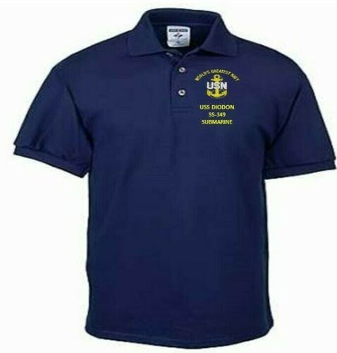 USS CLAMAGORE  SS-343  SUBMARINE EMBROIDERED LIGHTWEIGHT POLO SHIRT