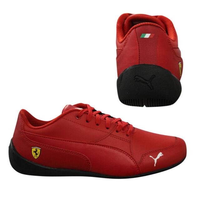 4cf43a7460 Puma Ferrari SF Drift Cat 7 Junior Trainers Kids Lace Up Red Leather  36418104 Q1
