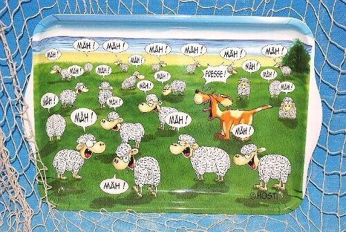 Tablett, Fresse, Schafe, Hund, Hösti, Melamin, maritim