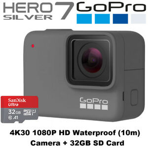 GoPro Hero7 Silver - 4K30 1080P60 HD 2x Slo-Mo 10MP Camera + 32GB SD Card