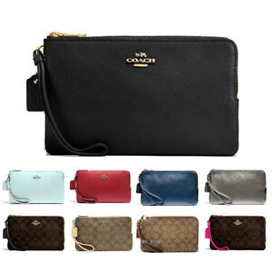 New-Coach-Double-Zip-Wallet-Wristlet-Fits-Iphone-Plus-With-Git-Box-F87587-F16109