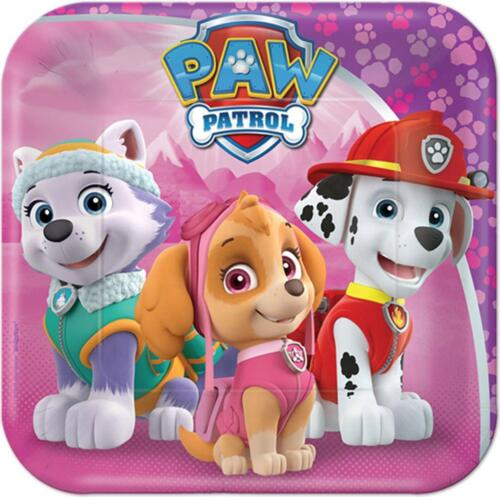 Paw Patrol Girls Dessert Cake Plates 8 Per Package Birthday Party Supplies New