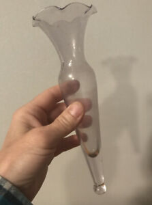 Clear-Flower-Glass-Bud-Vase-insert-Vintage-No-stand-8-034-height-2-1-2-034-width-FH2