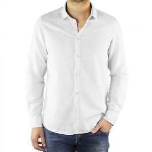 Camicia-Uomo-Lino-Bianca-Slim-Fit-Manica-Lunga-Estiva-Sartoriale-Elegante-Casual