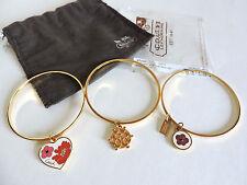 Coach Poppy Heart Flower Pave Crystal Gold Bangle Bracelet Set of 3 NEW