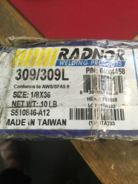 """Radnor 64004458 309//309l Stainless Steel 1//8/""""x36/"""" TIG Welding Rods 10lbs for sale online"""