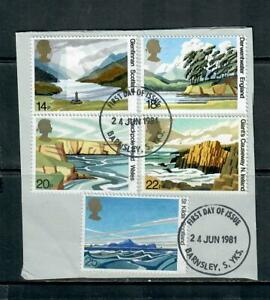 1981 COMMEMORATIVES SET NATIONAL TRUST, ON PIECE, CUT FROM FDC,