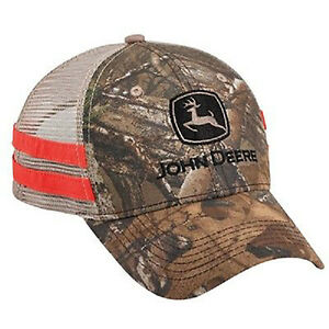 JOHN DEERE *REALTREE CAMO w/TAN MESH & BLAZE STRIPES* Trademark Logo HAT CAP NEW