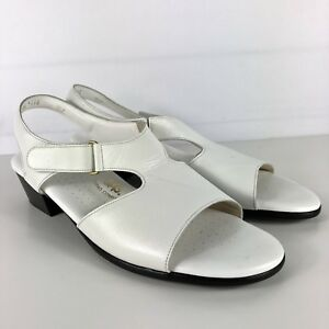 SAS-White-Leather-Heel-Sandals-Shoes-Womens-size-11