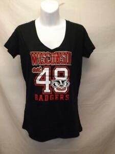 Nuevo-Wisconsin-Badgers-est-1848-Mujer-Talla-L-Grande-Negro-Camisa