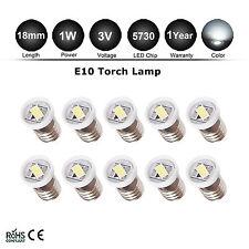 10pcs E10 5730 style Screw 1 LED SMD 3V Pure White Torch Bulb Light DIY LIONEL
