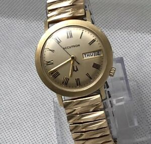 Accutron-218-14K-Gold-Filled-Case-Tuning-Fork-Day-Date-Men-039-s-Watch
