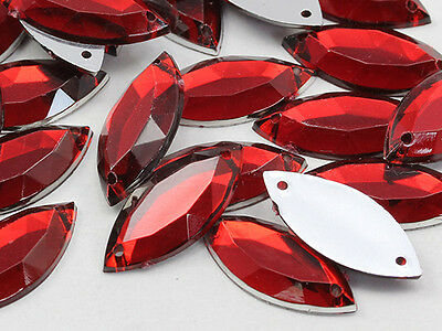 20x9mm Red Ruby CH17 Navette Flat Back Sew On Craft Gems - 50 Pieces