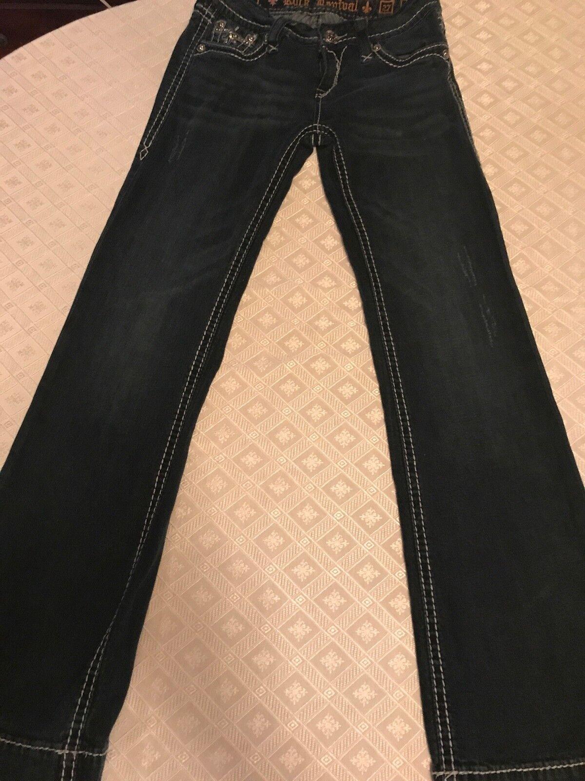 Women's distressed Rock Revival Sora wide leg denim jeans sz 27  Excellent Cond
