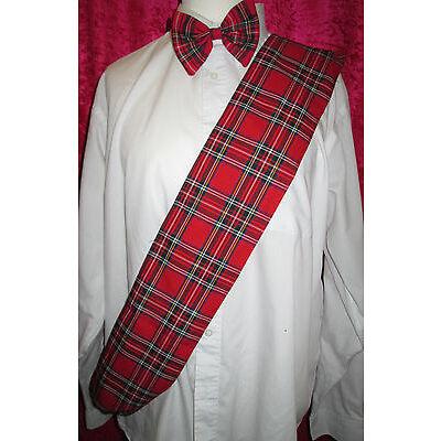 Red Tartan Sash & Bow Tie Burns Night Fancy Dress Scottish Plaid Royal Stewart