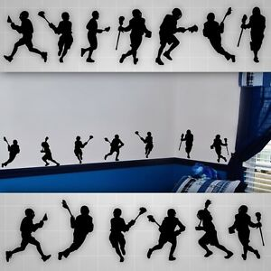 Image is loading Lacrosse-wall-decals-LAX-boys-room-silhouette-wall-