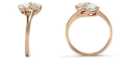 Ladies Double Clear CZ Stone Rose Gold EP Fashion Ring