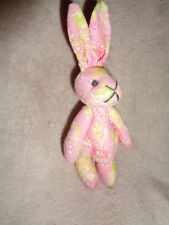 Bunny Pier 1 Import pink paisley cotton fabric stuffed jointed mini Easte rabbit