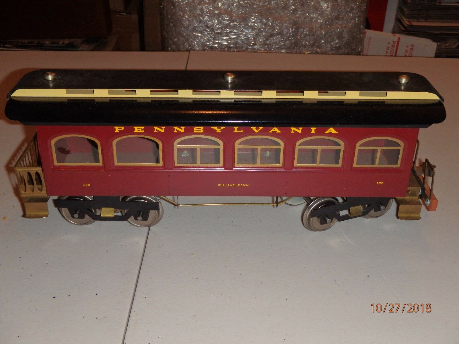 Classic Modell Trains Standard Pennsylvania William Penn 192 Passenger Lichted
