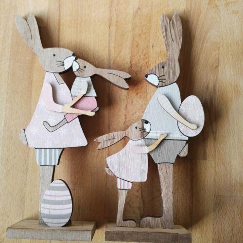 2 x Osterhase Hasen 24cm Figur Osterdekoration Holz Ostern Hasenmann Hasenfrau