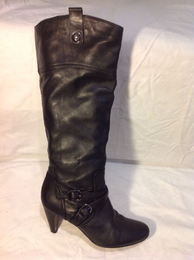 Staccato Black Knee High Leather Boots Size 37