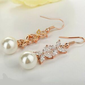 Wedding Party Rose Gold CZ Bridal Pearl Dangle Earrings Pink Gold