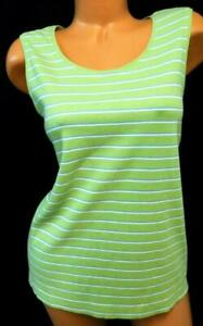 White-stag-green-blue-striped-sleeveless-scoop-neck-plus-size-tee-top-XL-16-18