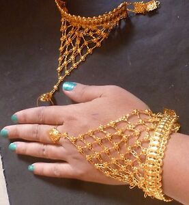 22K Gold Plated Indian one Ring Two Pieces Haat panja Hand Jewelry