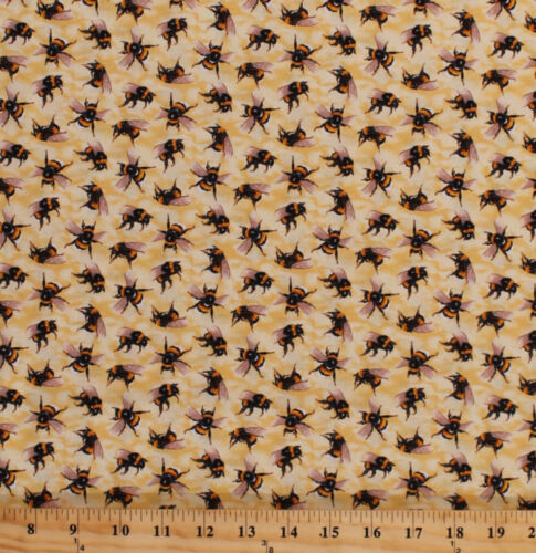 Cotton Bees Bumblebees Bugs Insects You Bug Me Cotton Fabric Print BTY D570.73